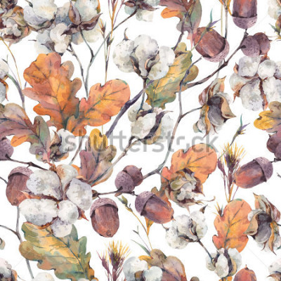 Cuadro Acuarela otoño fondo vintage con ramitas, flor de algodón, hojas de roble amarillo y bellotas. Patrón sin fisuras de ilustraciones de acuarela botánica
