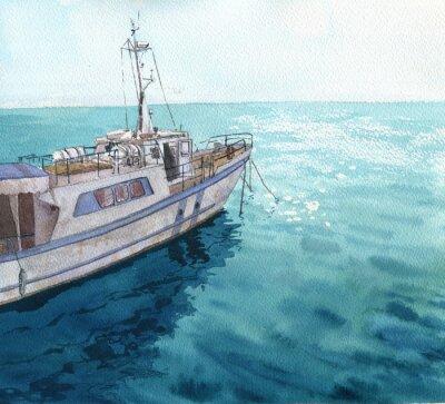 Cuadro Acuarela paisaje del mar con los barcos