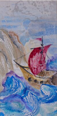 Cuadro Acuarela paisaje marino con nave navegando en un mar tempestuoso a la lan