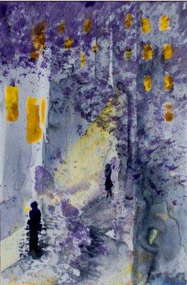 Cuadro Acuarela paisaje urbano abstracta