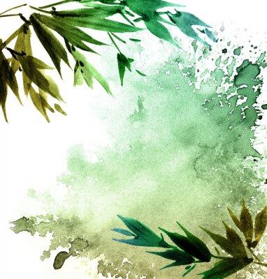 Cuadro Acuarela pintada follaje de árbol