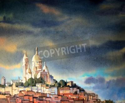 Cuadro Acuarela pintura del Montmartre, en la ciudad de París, Francia.