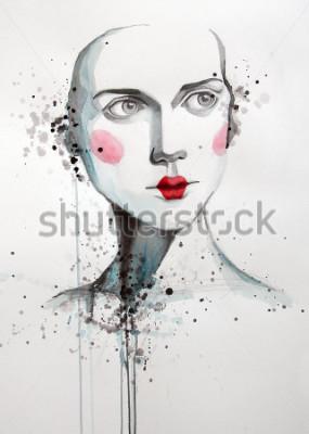 Cuadro Acuarela retrato de mujer hermosa | hecho a mano | hecho a sí mismo | Pintura