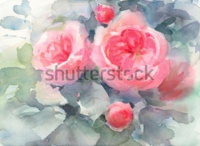 Cuadro Acuarela Rosas Flores Fondo Floral Textura Ilustración Pintada A Mano