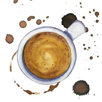 Cuadro Acuarela taza de café espresso con manchas y marcas de café alrededor, vista superior.