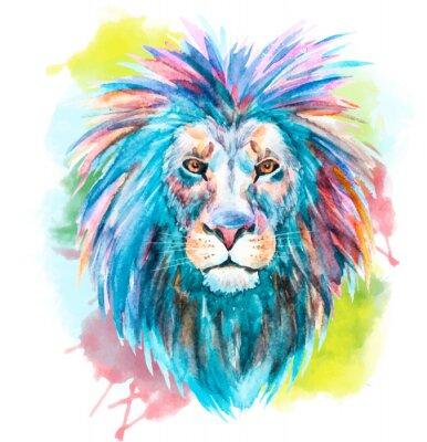 Cuadro Acuarela, vector, león