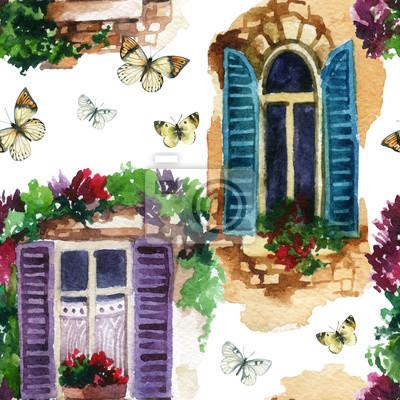 Acuarela Ventana Tradicional A La Antigua Con Flores En Maceta