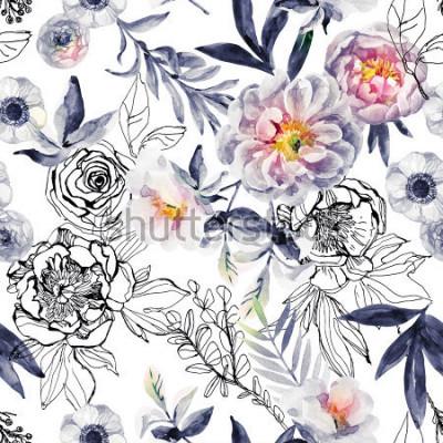 Cuadro Acuarela y tinta doodle de flores, hojas, patrones sin fisuras las malas hierbas. Pintado a mano, dibujado fondo floral con peonías, anémonas, ranúnculos, rama de perro rosa, hierbas de prado