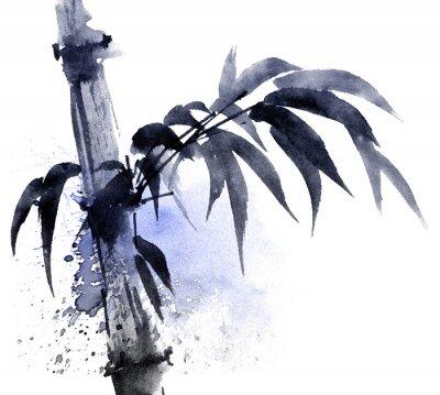 Cuadro Acuarela y tinta ilustración de bambú con color salpicaduras de agua. Pintura oriental tradicional en estilo sumi-e, u-sin. Ilustración artística.