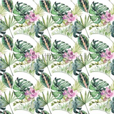 Cuadro Adorno de acuarela con flores tropicales y hojas verdes para invitaciones de boda, vacaciones, tarjetas de reservas, carteles, libros, sobres, álbum de fotos. Ilustración en el fondo aislado.
