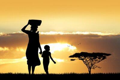 Cuadro Africano, mujer, hijo, ocaso