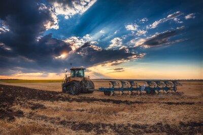 Cuadro Agricultor, tractor, preparación, tierra, cultivador