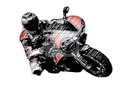Cuadro aislado dibujo de la motocicleta