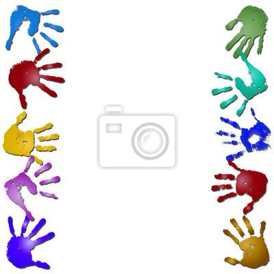 Aislado el marco del estampado pintado a mano los niños conceptuales ...