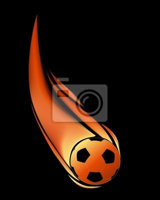 aislado en balón de fútbol negro en llamas