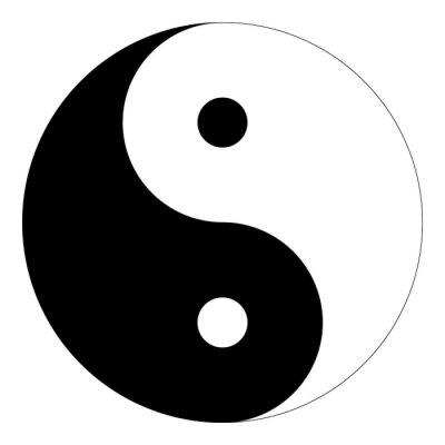 Aislado En Blanco Y Negro Yin Yang Símbolo De La Armonía Y