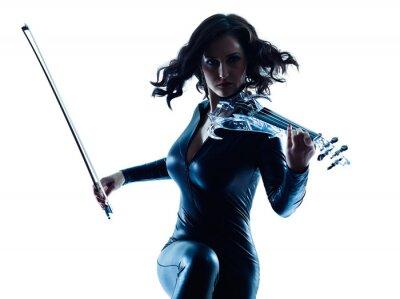 Cuadro Aislado mujer Violinista slihouette