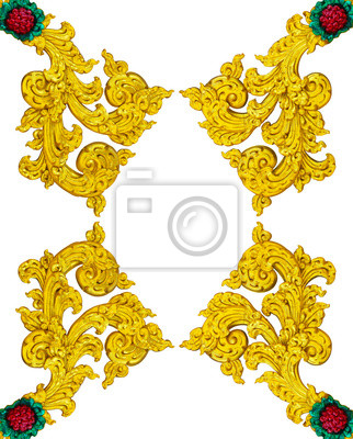 Aislar el arte de estuco tailandia oro utilizado para hacer marcos ...
