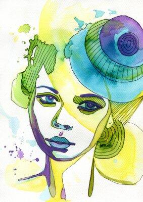 Cuadro Akwarelowy retrato kobiety