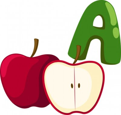 Cuadro alfabeto A para la manzana