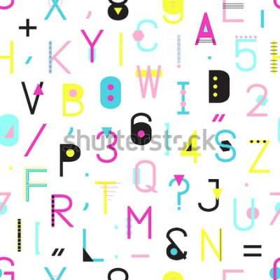 Cuadro Alfabeto colorido de patrones sin fisuras con números y puntuación de formas geométricas aisladas sobre fondo blanco. Tipografía creativa textura de envoltura en estilo Memphis. Ilustración abstracta
