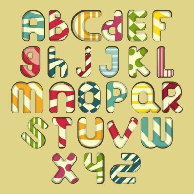 Cuadro alfabeto de rayas multicolores