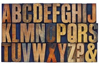 Cuadro alfabeto en bloques de tipo de tipografía de madera
