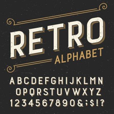Cuadro Alfabeto fuente Retro vector. Serif escribir letras, números y símbolos. sobre un fondo rayado apenado oscuro. Vector de la tipografía para las etiquetas, títulos, carteles, etc.