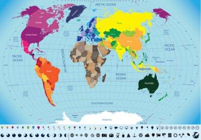 Cuadro alta detallado mapa del mundo