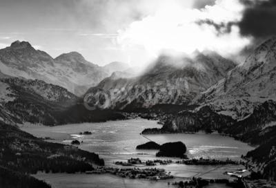Cuadro Alta vista del valle con la Engadina Sils Maria odio pueblos donde vivió el filósofo Nietzsche