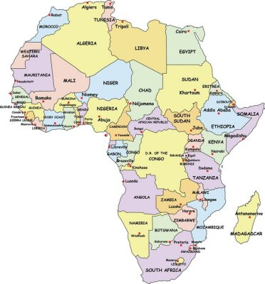 Cuadro Altamente detallado mapa político de África.