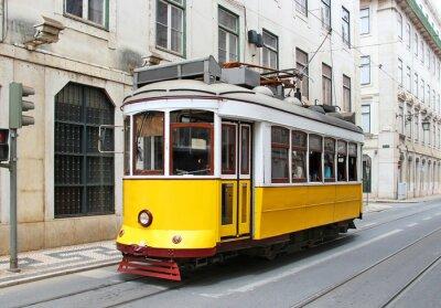 Cuadro Amarillo Antiguo tranvía de Lisboa, Portugal