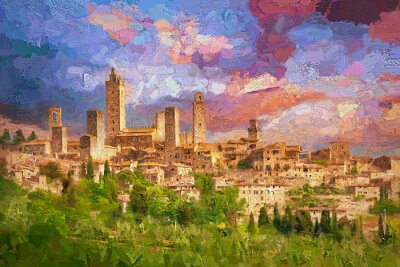 Cuadro Amazing landscape view of San Gimignano is a small walled medieval hill town during colorful evening sunset in summer time, Tuscany, Italy.- oil painting