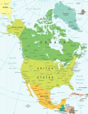 Cuadro América del Norte mapa - altamente detallada ilustración vectorial.
