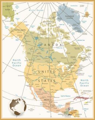 Cuadro América del Norte Mapa detallado Retro colores