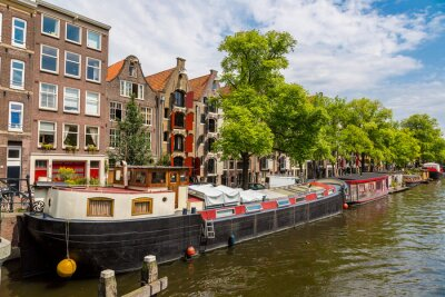 Cuadro Amsterdam canales y barcos, Holanda, Países Bajos.