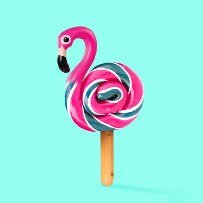 Cuadro An alternative sweets. Candy as a flamingo on the wooden stick on blue background. Negative space to insert your text. Modern design. Contemporary art. Creative conceptual and colorful collage.