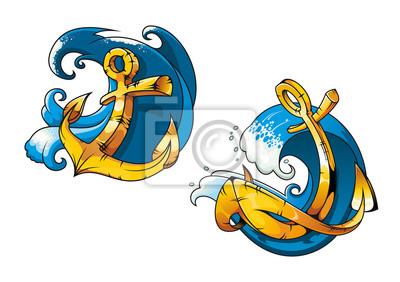 Anclas De Barco De Dibujos Animados En Las Ondas De Agua De Mar