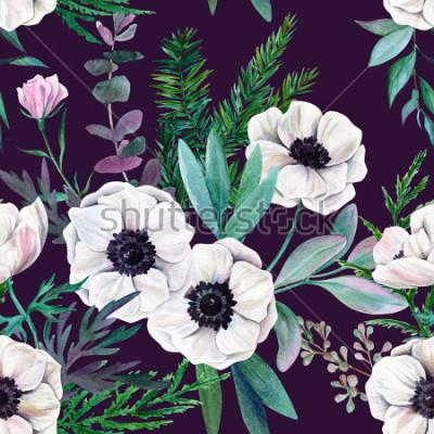 Cuadro Anémonas y hojas blancas sobre fondo morado. Acuarela de patrones sin fisuras, a todo color, dibujado a mano ilustración.