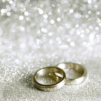 Cuadro Anillos de bodas y estrellas en plata