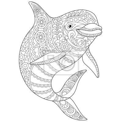 Animal Estilizado Del Delfín Del Océano Boceto A Mano