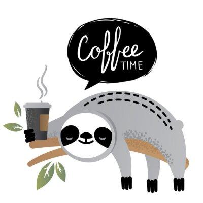 Cuadro Animal lindo del oso de pereza del vector con las letras del tiempo del café.