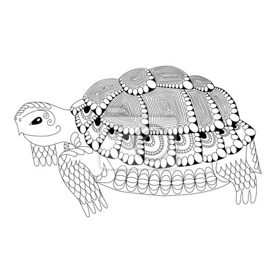 Cuadro Animal Tótem Dibujo Tortuga Zentangle Para Colorear La Página