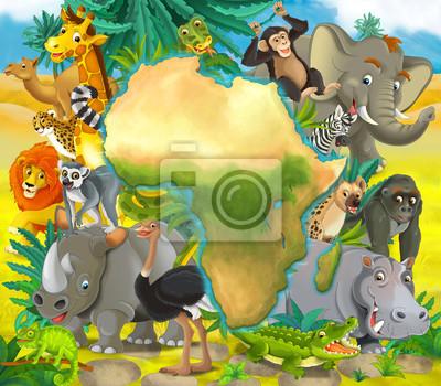 Animales africanos de dibujos animados - con mapa - marco para ...