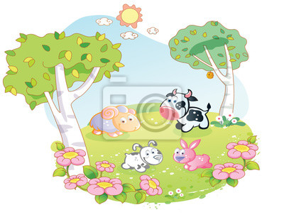 Animales de granja de dibujos animados en el jardín de flores ...