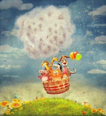 Cuadro Animales felices en el globo de aire en el cielo - arte de la ilustración