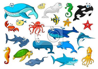 Animales marinos aislado conjunto de iconos de dibujos animados ...