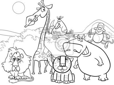 Cuadro Animales Salvajes Para Colorear Grupo