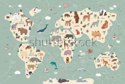 Cuadro Animals on world map illustrations  hand drawn vector set