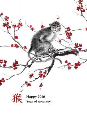 Cuadro Año de tarjeta de felicitación de mono. Un mono sentado en una rama de flor de cerezo, pintura de tinta oriental. Con el jeroglífico chino
